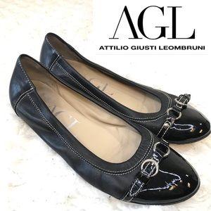 AGL Ballet Flats Black Cap Patent Toe Buckle 38